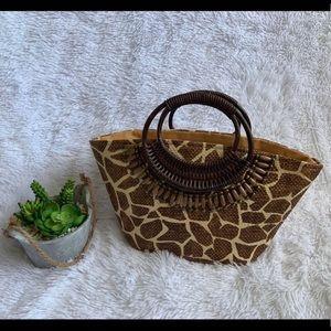 Cappelli Straworld Wood Handle giraffe straw Bag